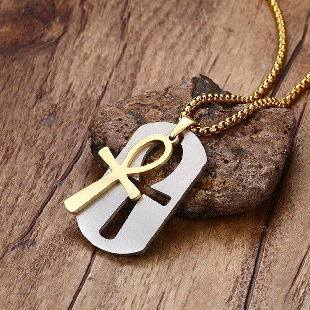 Dog Tag and Ankh Cross Pendant Cut-Out Chain Necklace - InnovatoDesign