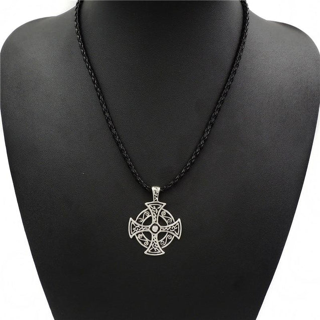 Silver Celtic Solar Cross Pewter Pendant Necklaces - InnovatoDesign