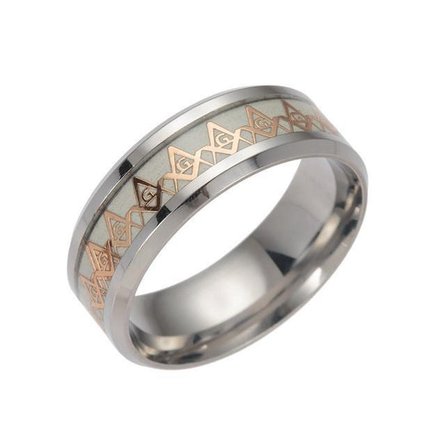 Freemason Luxury Silver Ring with Gold Plated Design