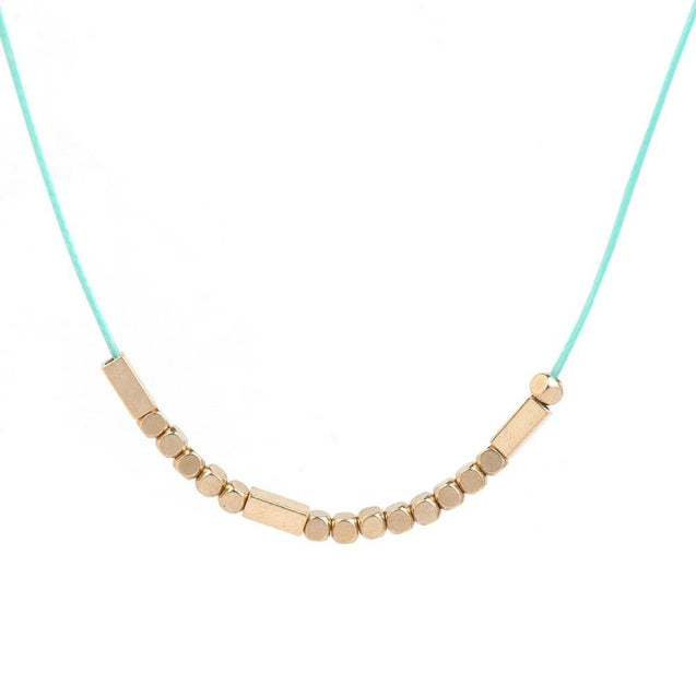 "Copper Morse Code ""Believe"" Rope Necklace"