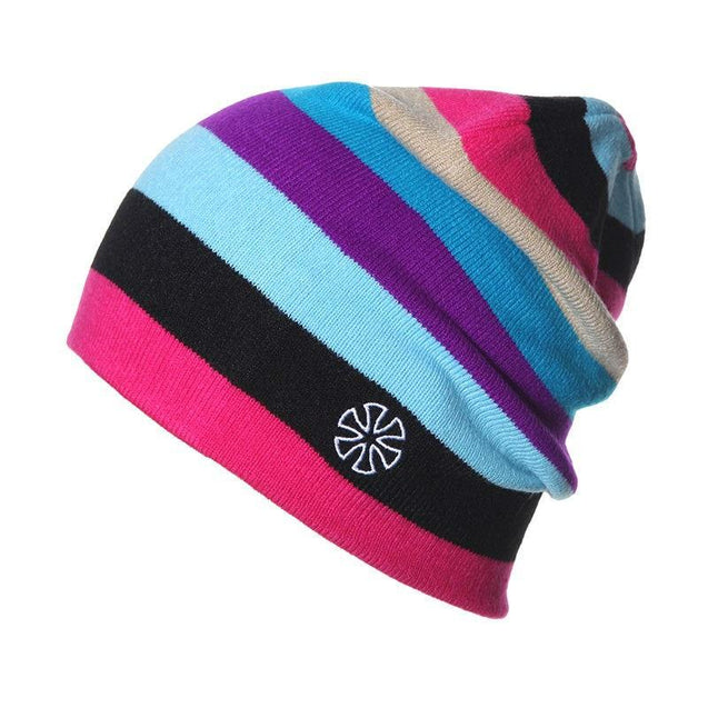 Multicolored Striped Knitted Hat, Beanie or Bonnet