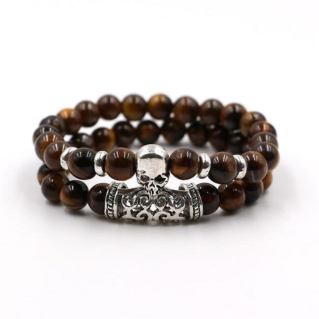 2 Pieces Set Natural Lava Stone Skull Bracelet - InnovatoDesign