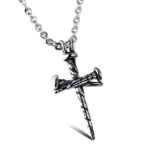 Stainless Steel 3 Nail Cross Pendant with Chain Necklace - InnovatoDesign