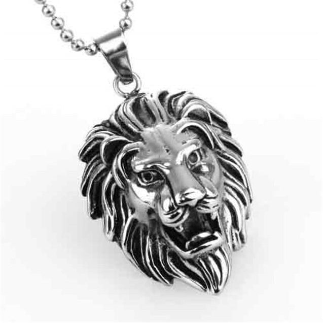 Lion Head Pendant Necklace with Red Eyes - InnovatoDesign