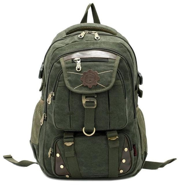 Large Canvas and Leather Travel Backpack in 3 Colors - InnovatoDesign