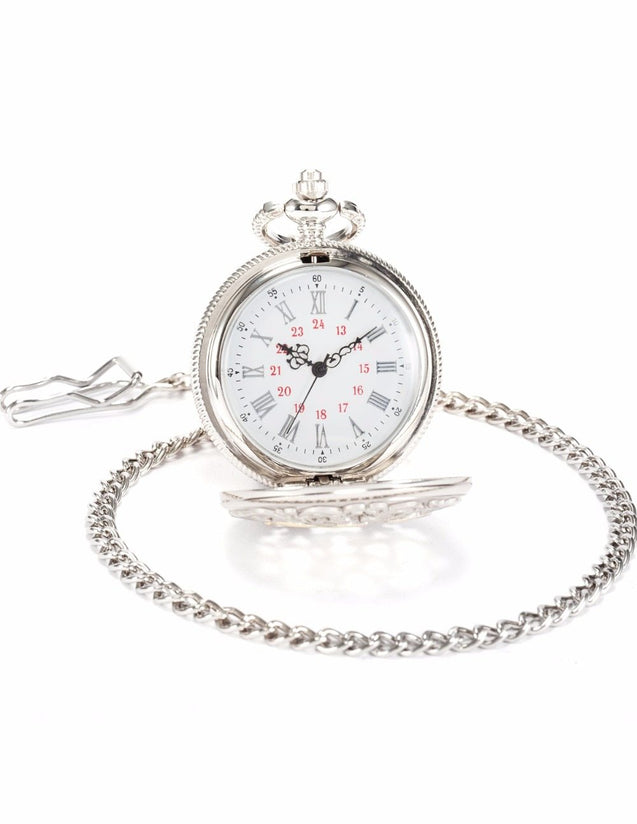 Silver Alloy Pocket Watch with Fancy Case for Dad - InnovatoDesign