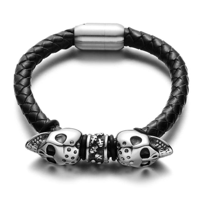 Black Braided Leather Stainless Steel Twin Devil's Skull Bracelet - InnovatoDesign