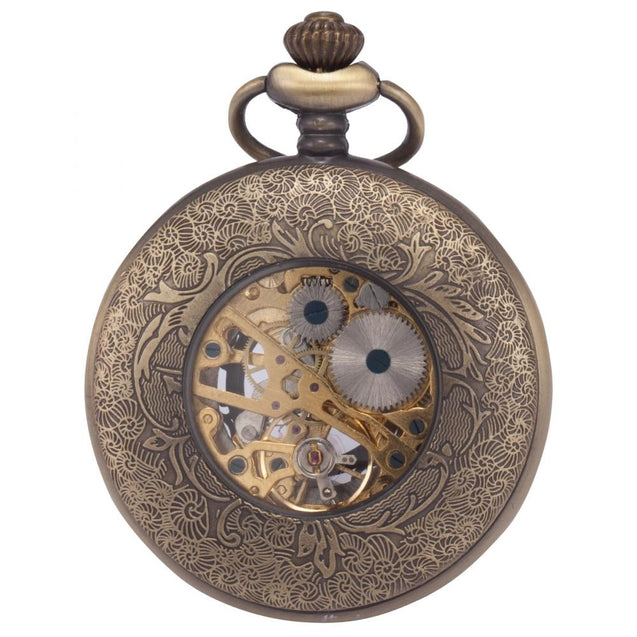 Vintage Pocket Watch with Intricate Hollow Brass Carving - InnovatoDesign