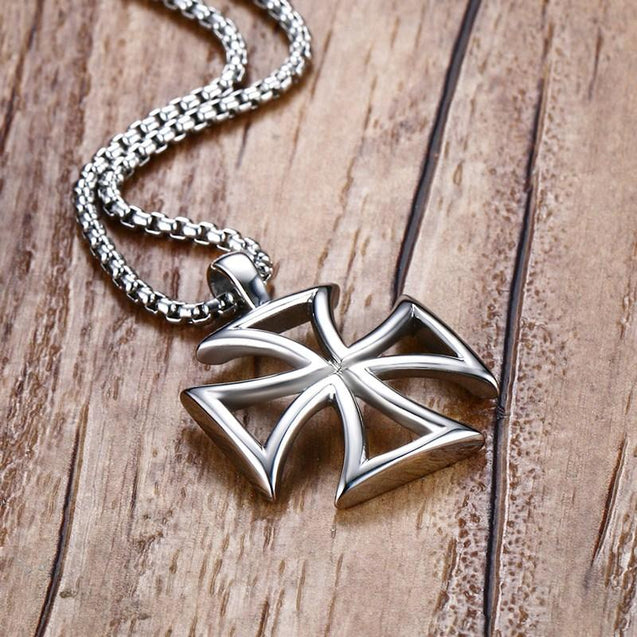 Stainless Steel Silver Templar Cross Hollow Border Pendant Necklace - InnovatoDesign