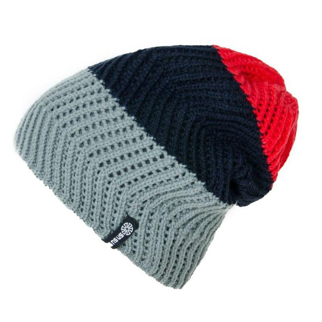 Tri-colored Striped Beanie, Knit Hat or Bonnet