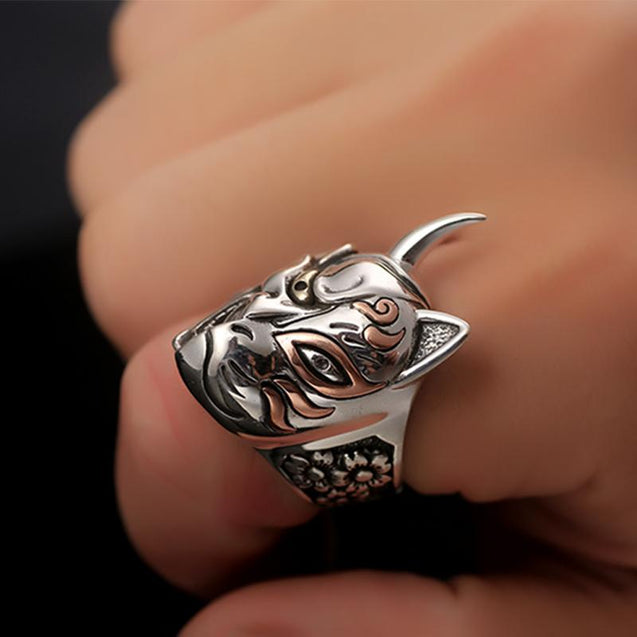 Steampunk Devil Ring with Two Half Demon Faces Made of Solid 925 Sterling Silver - InnovatoDesign