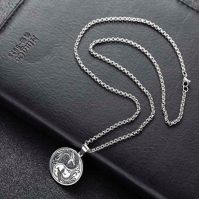 Stainless Steel Yin and Yang Dragon Pendant Necklace - InnovatoDesign