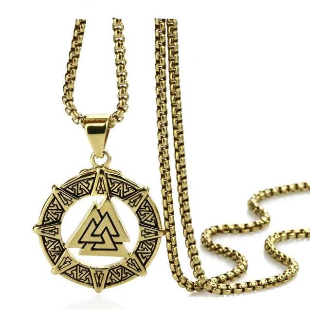 Gold & Silver Viking Valknut Pendant with Chain Necklace - InnovatoDesign
