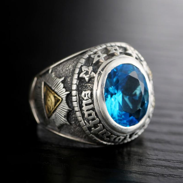 925 Silver Blue Zircon Men's Ring with Gold Plated Gothic Ram Head and Eye Of Providence - InnovatoDesign