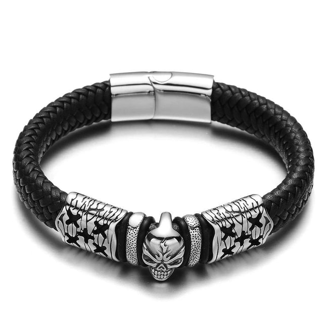 Black/Brown Braided Leather Stainless Steel Punk Skull Bracelet - InnovatoDesign