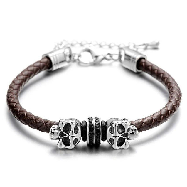 Black Slim Braided Leather Skull with Micro Cubic Zirconia Bracelet - InnovatoDesign