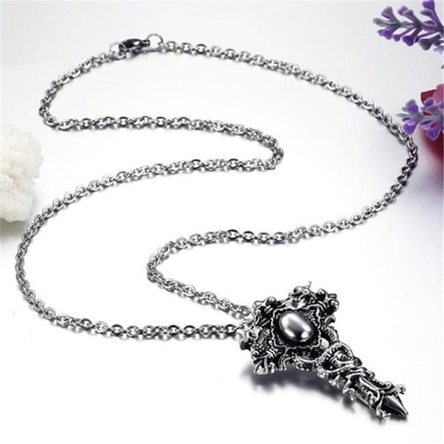 Gothic Dragons Twisted Around Cross Pendant with Chain Necklace - InnovatoDesign