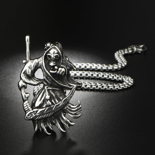 Stainless Steel Grim Reaper Pendant with Silver Chain Necklace