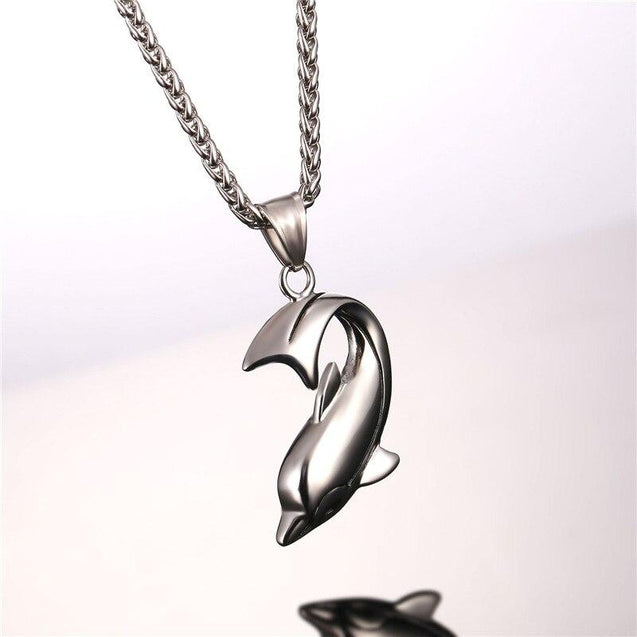 Dolphin Pendant Chain Necklace in Black Gold or Silver - InnovatoDesign