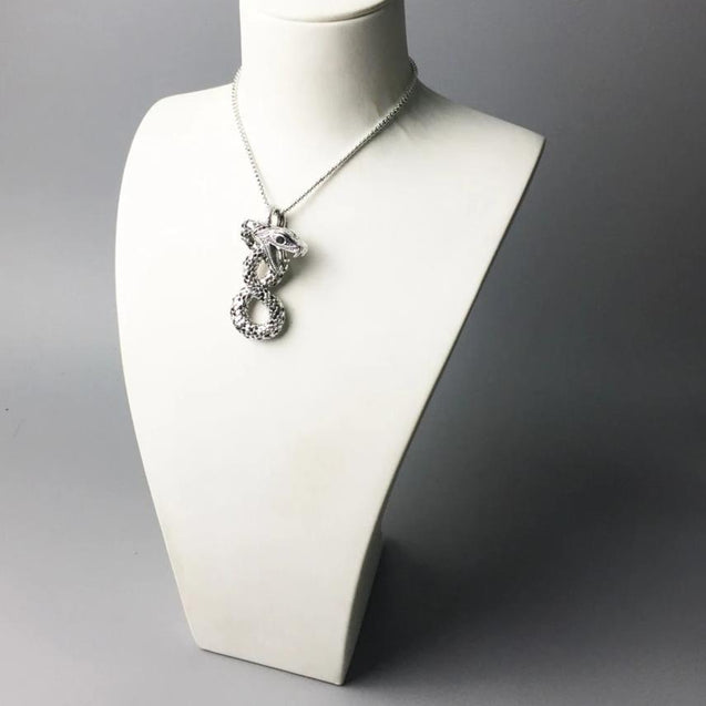 925 Sterling Silver Entangled Snake Pendant Necklace