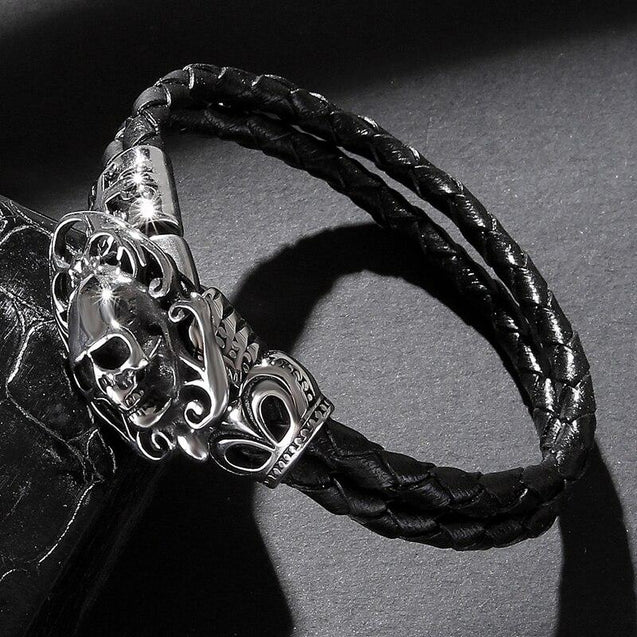 Black Braided Leather Skull with Cross and Crown Bracelet - InnovatoDesign