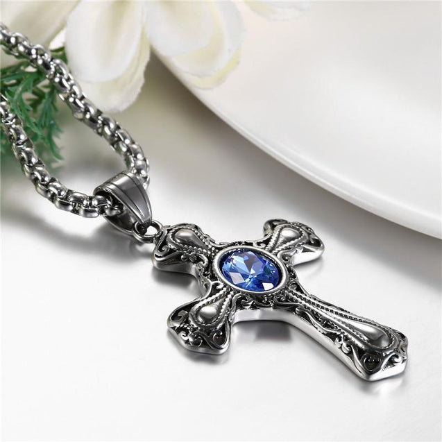 Gothic Black Sapphire Stone Cross Pendant Necklace - InnovatoDesign