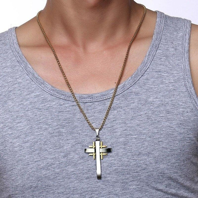 Silver and Gold Jerusalem Cross Pendant Necklace - InnovatoDesign