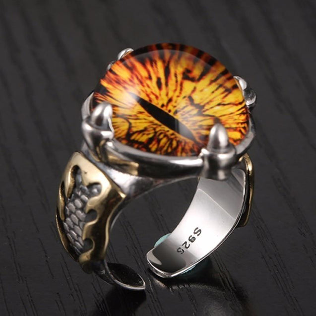 Adjustable Sterling Silver Cubic Zirconia Dragon Eye Ring for Men and Women - InnovatoDesign