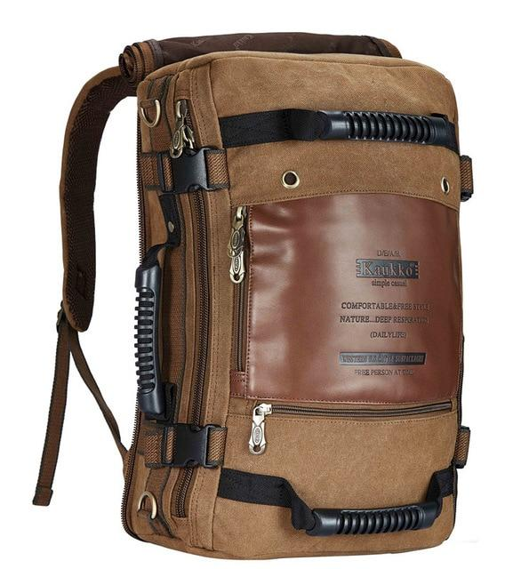 Canvas Leather Multi-functional 20 to 35 Litre Backpack - InnovatoDesign