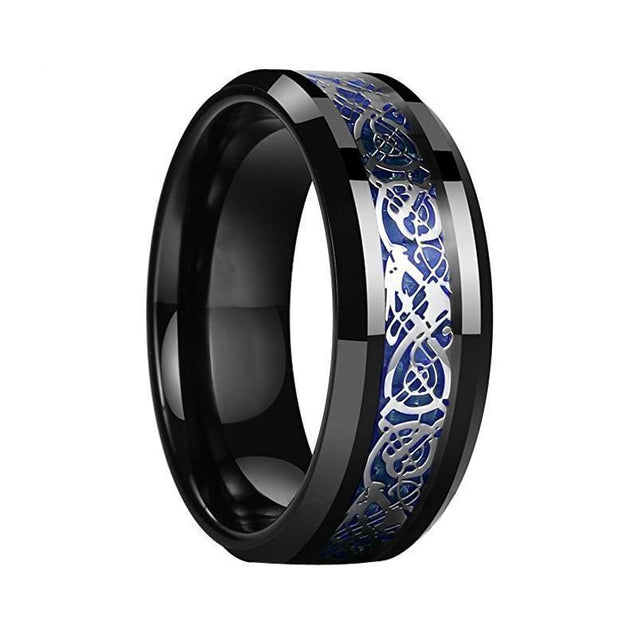 Dragon Inlay Black Over Blue Tungsten Ring