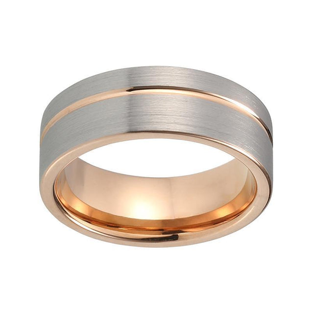 Rose Gold Offset Line Tungsten Carbide Ring - InnovatoDesign