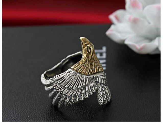 American Eagle Ring Gold Plated Head and 925 Sterling Silver Band for Men - InnovatoDesign