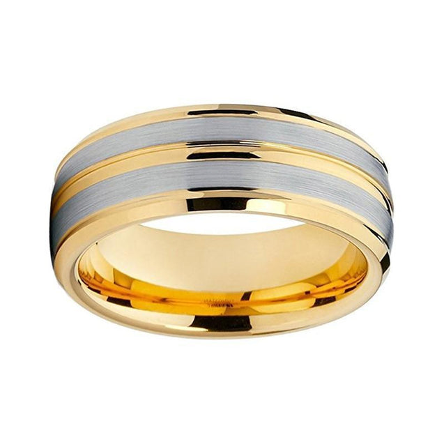 Brushed Yellow Gold Tungsten Ring