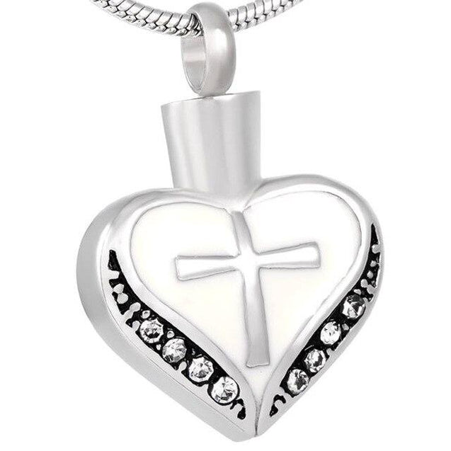 Urn Heart with Cubic Zirconia Crystals and Cross Design Pendant - InnovatoDesign