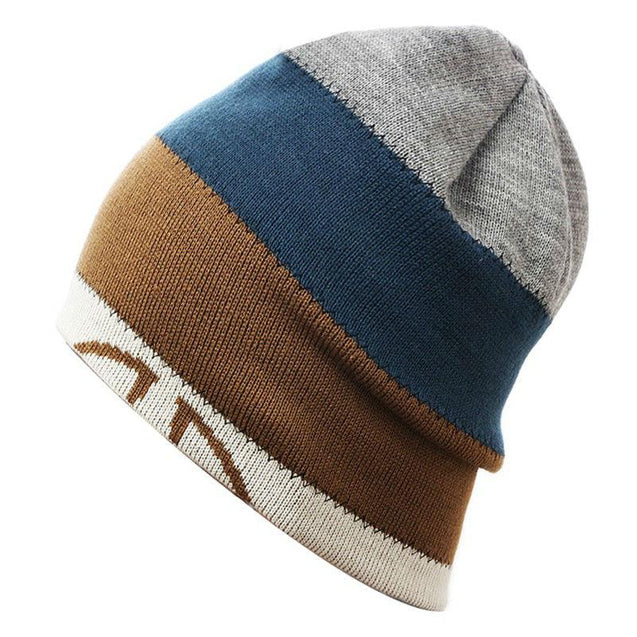Multicolored Big Striped Knit Hat, Skull Cap or Beanie