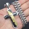 Three Tone Black, Silver and Gold Stainless Steel Lord's Prayer Necklace - InnovatoDesign