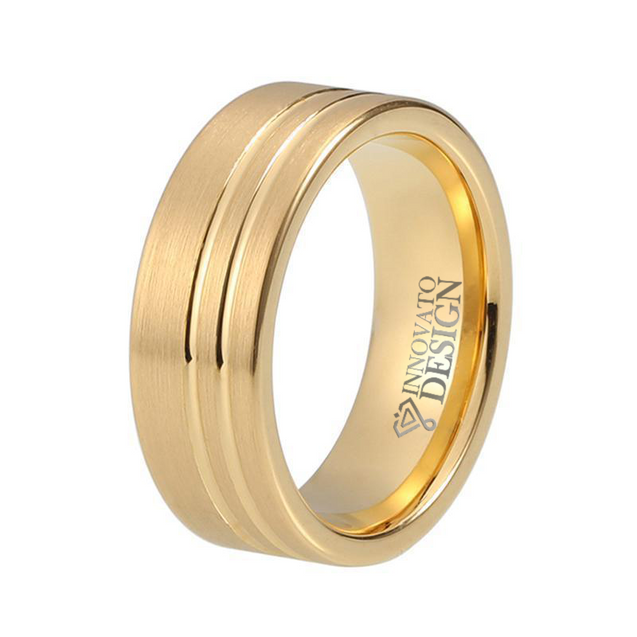 8mm Yellow Gold Plated Double Offset Lines Tungsten Ring