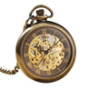 Bronze Pocket Watch with Open Face and Clear Gear Skeleton - InnovatoDesign