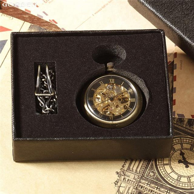 Bronze Pocket Watch with Open Face and Clear Gear Skeleton