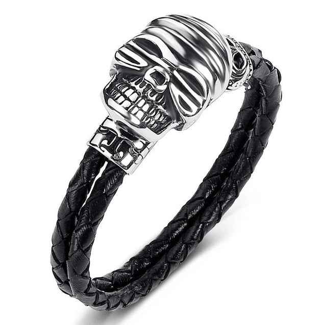 Black Braided Leather Stainless Steel Smiling Skull Bracelet - InnovatoDesign