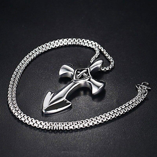 Stainless Steel Sword Blade Cross Pendant with Chain Necklace - InnovatoDesign