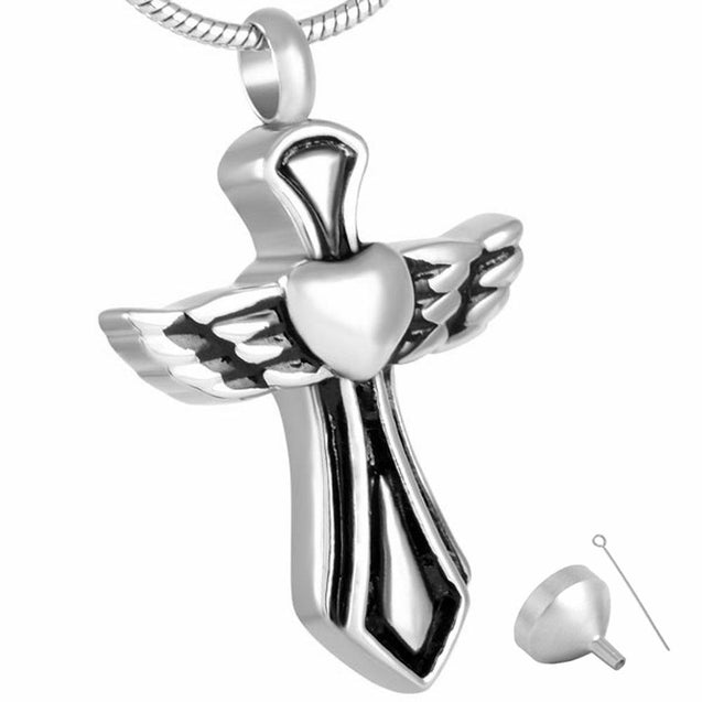 Silver Angelic Winged Heart Cross Mini-Urn Pendant Necklace - InnovatoDesign