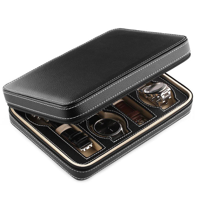Black Leather Watch and Jewelry Zippered Display Storage Box - InnovatoDesign