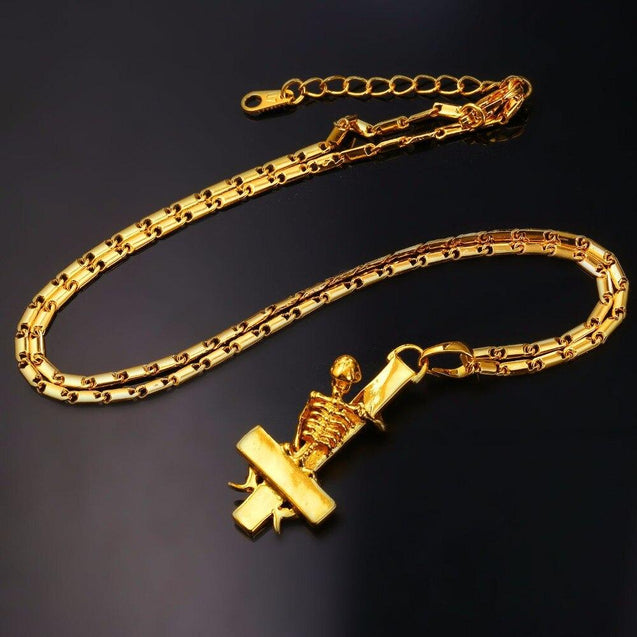 Gold Plated Gothic Skeleton Upside Down Cross Pendant Necklace - InnovatoDesign