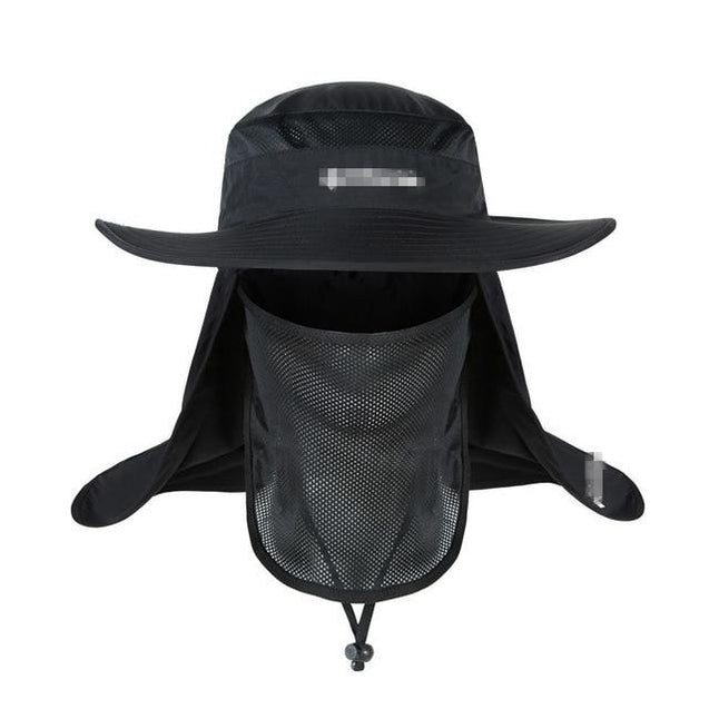 Wide Brim Waterproof and Windproof UV Protection Bucket Flap Hat with Rope
