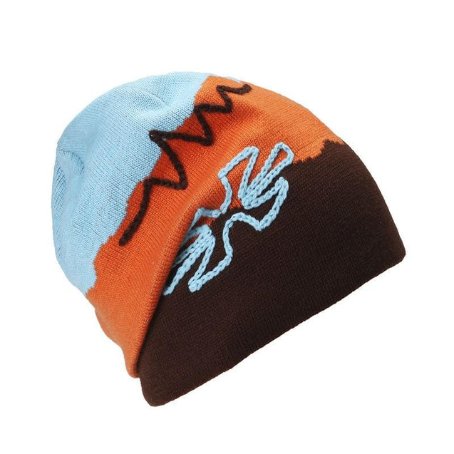 Scribbles Embroidered Striped Knit Hat, Skull Cap or Beanie
