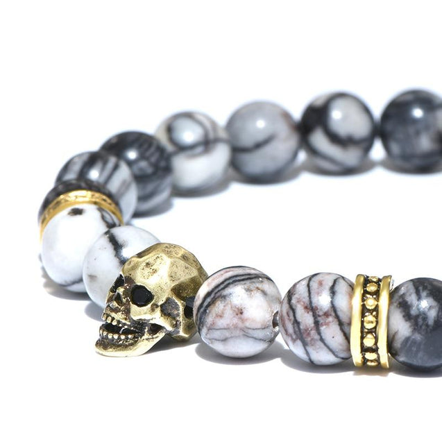 Natural Stone Beads Antique Skull Bracelet - InnovatoDesign