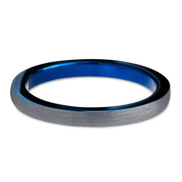 3mm Silver-Blue Tungsten Carbide Ring