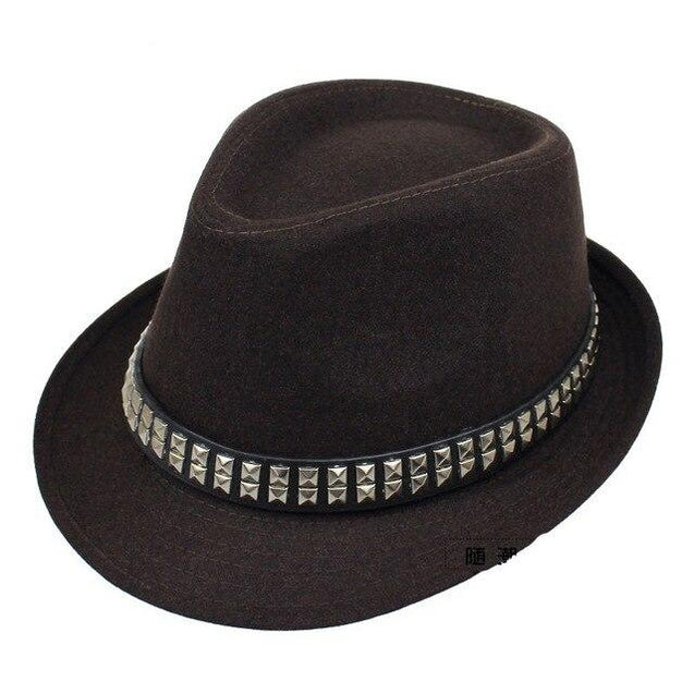 Vintage Wide Brim Wool Felt Fedora Trilby Hat with Metal-sequined Hatband