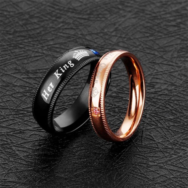 His and Her Black and Rosegold Stainless Steel with Blue and Pink Crown with Square-Cut Cubic Zirconia Couple Ring - InnovatoDesign